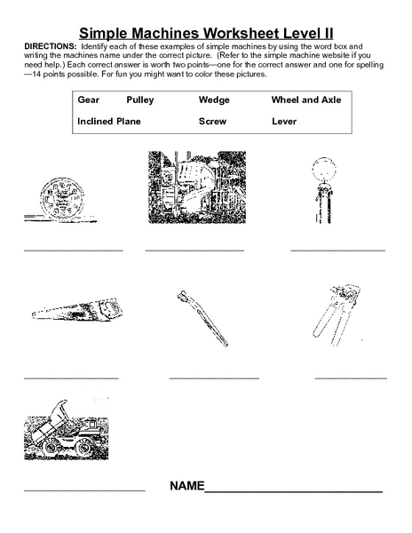 Simple Machines Worksheet Level II For 3rd