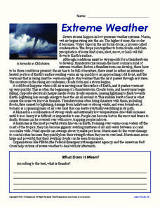 Extreme Weather Worksheet