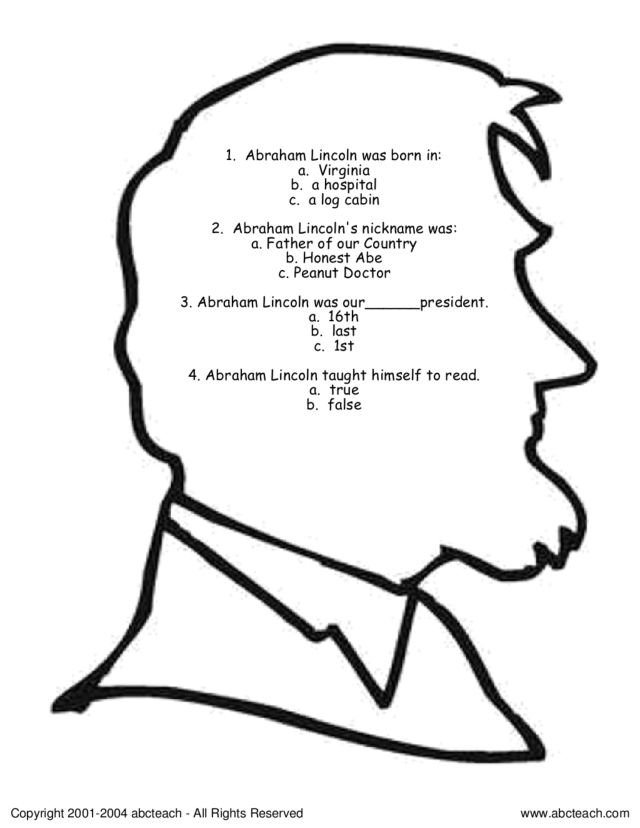 Abraham Lincoln Questions Worksheet For 2nd 3rd Grade