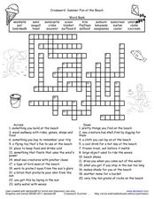 Crossword Summer Fun At The Beach Worksheet For 2nd 5th Grade