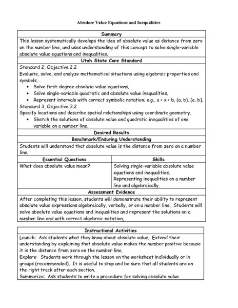 Absolute Value Equations And Inequalities Worksheet For