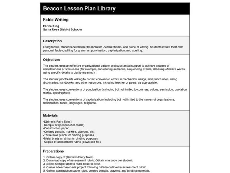 Fable Writing Lesson Plan