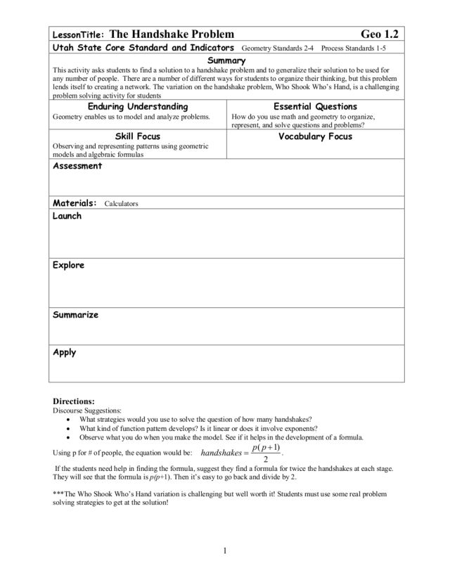The Handshake Problem Lesson Plan For 8th 12th Grade Lesson Planet