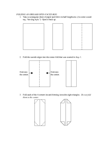 folding an origami open faced box worksheet for 6th 8th grade lesson planet. Black Bedroom Furniture Sets. Home Design Ideas