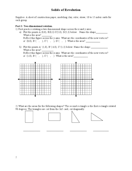 Solids of Revolution Worksheet for 9th - 12th Grade | Lesson ...