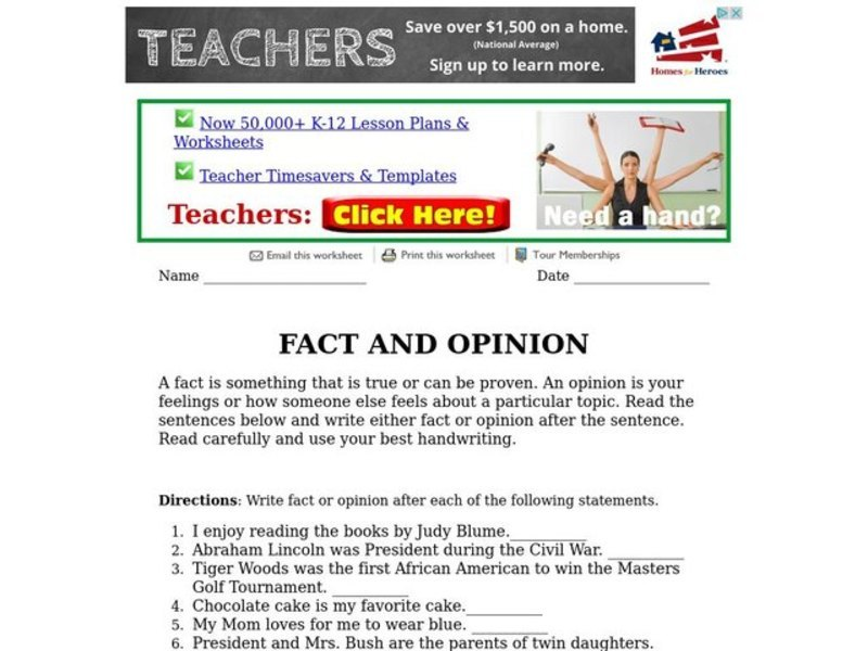 Fact And Opinion Worksheet For 3rd 4th Grade Lesson Planet
