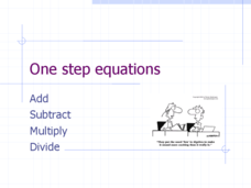 One Step Equations: Add, Subtract, Multiply, Divide Presentation