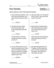 Fact Families Worksheet