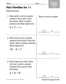 Fact Families for 11 Worksheet