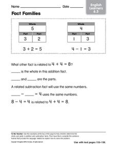 Fact Families: English Learners Worksheet