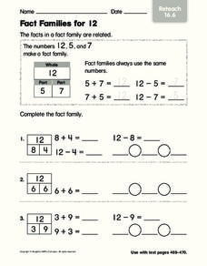 Fact Families for 12 Worksheet