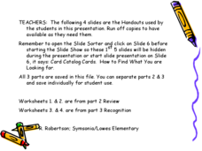 Card Catalog Cards Lesson Plan