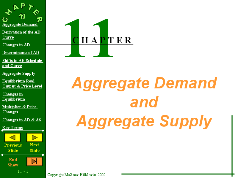 Chapter 11: Aggregate Demand and Aggregate Supply Lesson Plan