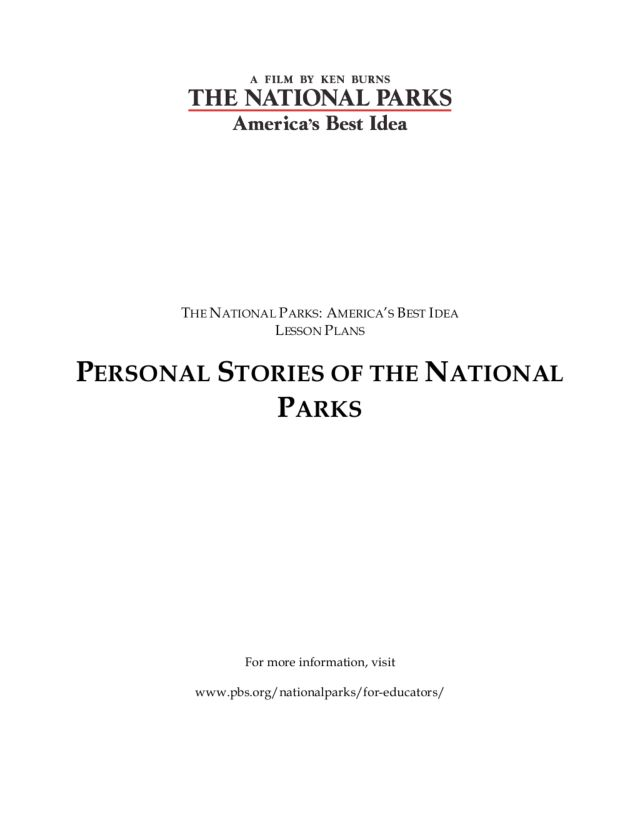 Personal Stories of the National Parks Lesson Plan