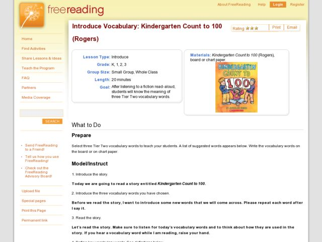Introduce Vocabulary: Kindergarten Count to 100 Lesson Plan