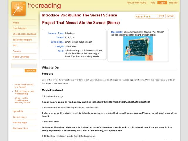 Introduce Vocabulary: The Secret Science Project That Almost Ate the School Lesson Plan