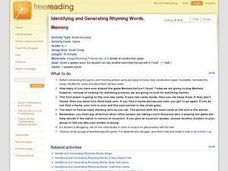 Identifying and Generating Rhyming Words, Memory Lesson Plan