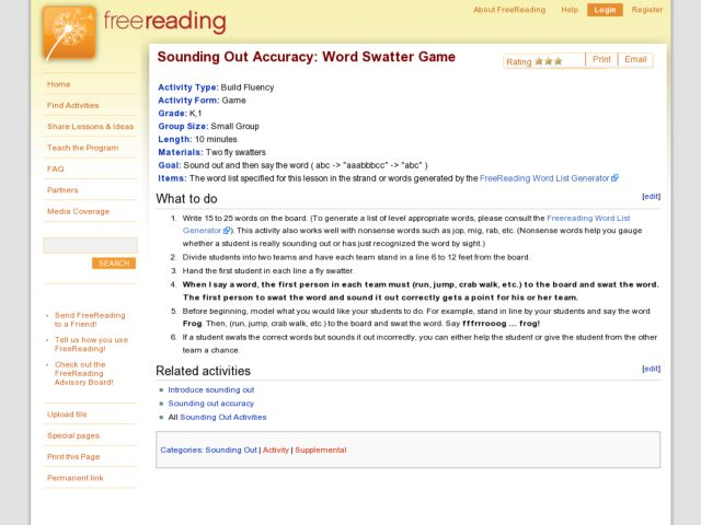 Sounding Out Accuracy: Word Swatter Game Lesson Plan