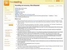 Sounding out accuracy, Word Baseball Lesson Plan