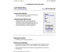 Business Law - Tort Law Lesson Plan