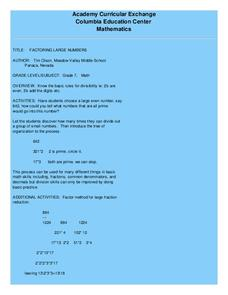 Factoring Large Numbers Lesson Plan
