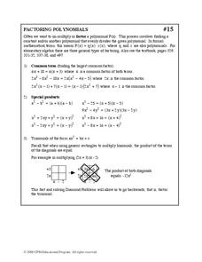 Factoring Polynomials Worksheet