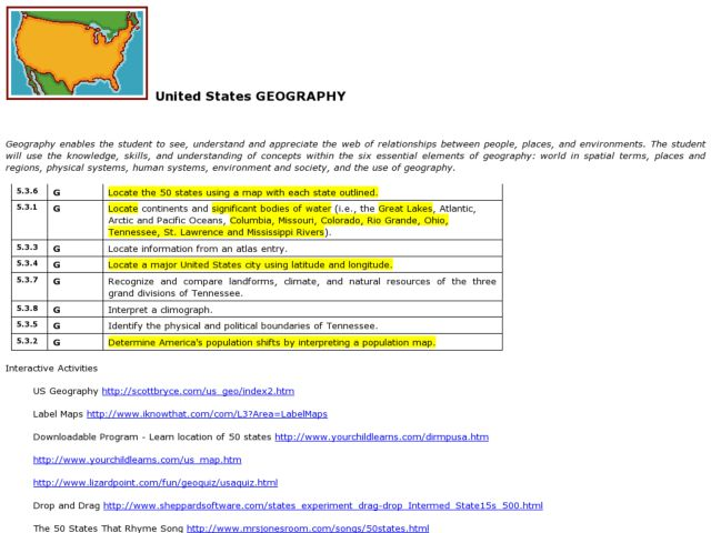 United States Geography Lesson Plan