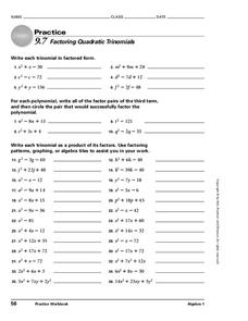 Factoring Quadratic Trinomials Worksheet
