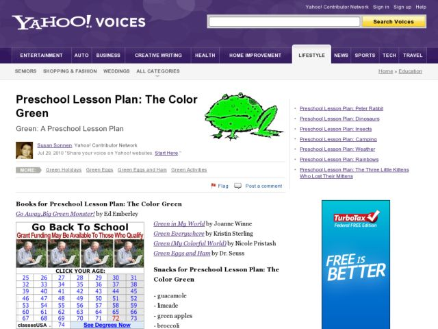 Preschool Lesson: The Color Green Lesson Plan