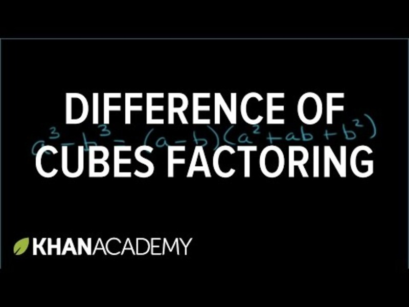 Factoring the Difference of Cubes Video