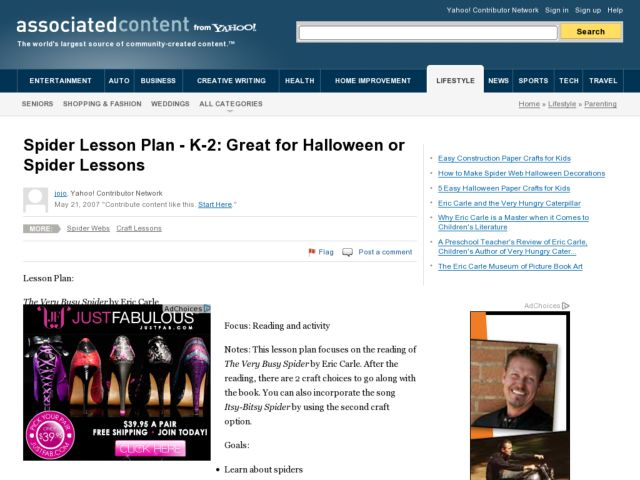 Spider Lesson: K-2 Great for Halloween Lesson Plan