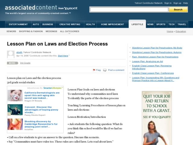 Lesson Plan on Laws and Election Process Lesson Plan