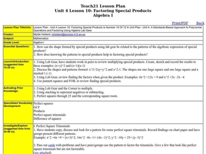 Special Products Worksheet Rringband – Perfect Square Trinomial Worksheet