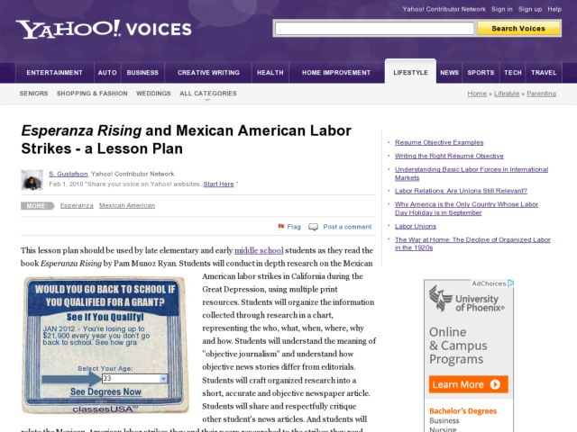 Esperanza Rising and Mexican American Labor Strikes Lesson Plan