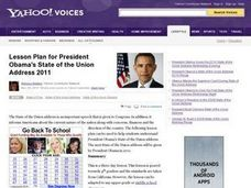 President Obama's State of the Union Address 2011 Lesson Plan