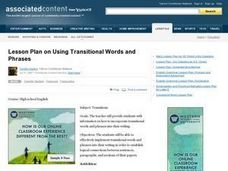Transitional Words and Phrases Lesson Plan