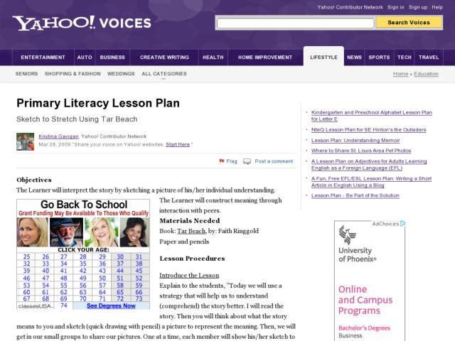 Primary Literacy Lesson Plan