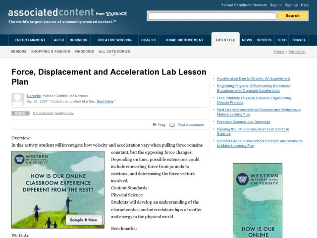 Force, Displacement and Acceleration Lesson Plan