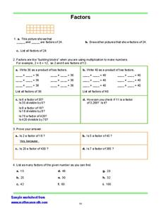 Factors Worksheet
