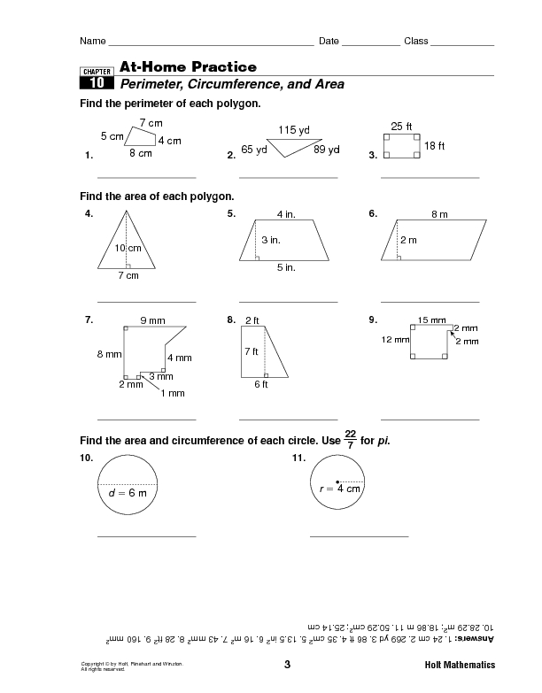 Perimeter Circumference And Area Worksheet For 6th 8th