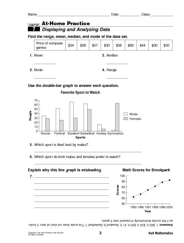 Displaying and Analyzing Data Worksheet for 5th   6th ...