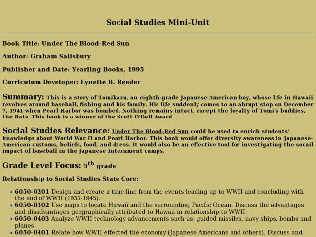 under the blood red sun summary