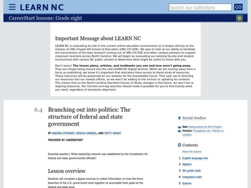 Branching out into Politics: the Structure of Federal and State Government Lesson Plan