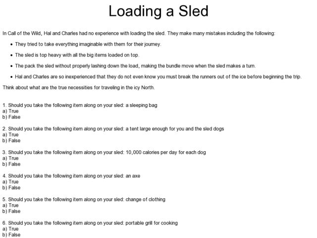 Loading a Sled Worksheet