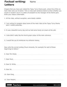 Factual Writing: Letters Worksheet