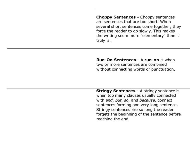 Sentence Structure: Avoiding Choppy, Run-on, and Stringy Sentences ...
