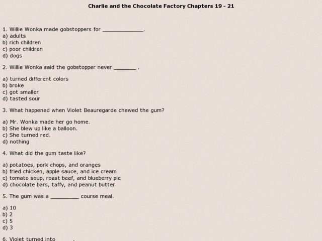 Charlie and the Chocolate Factory Chapters 19 - 21 3rd - 6th Grade ...