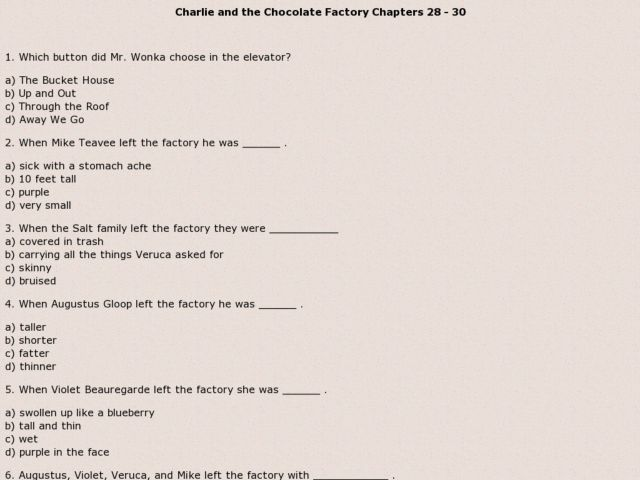 charlie and the chocolate factory chapters rd th grade   charlie and the chocolate factory chapters 28 30 3rd 5th grade worksheet lesson planet