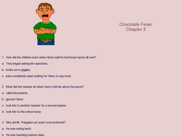 Chocolate Fever chapter 3 3rd 6th Grade Worksheet – Chocolate Fever Worksheets