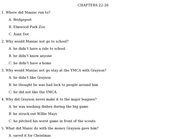 Maniac Magee: Quick Check Quiz Chapters 22 26 4th - 6th Grade ...